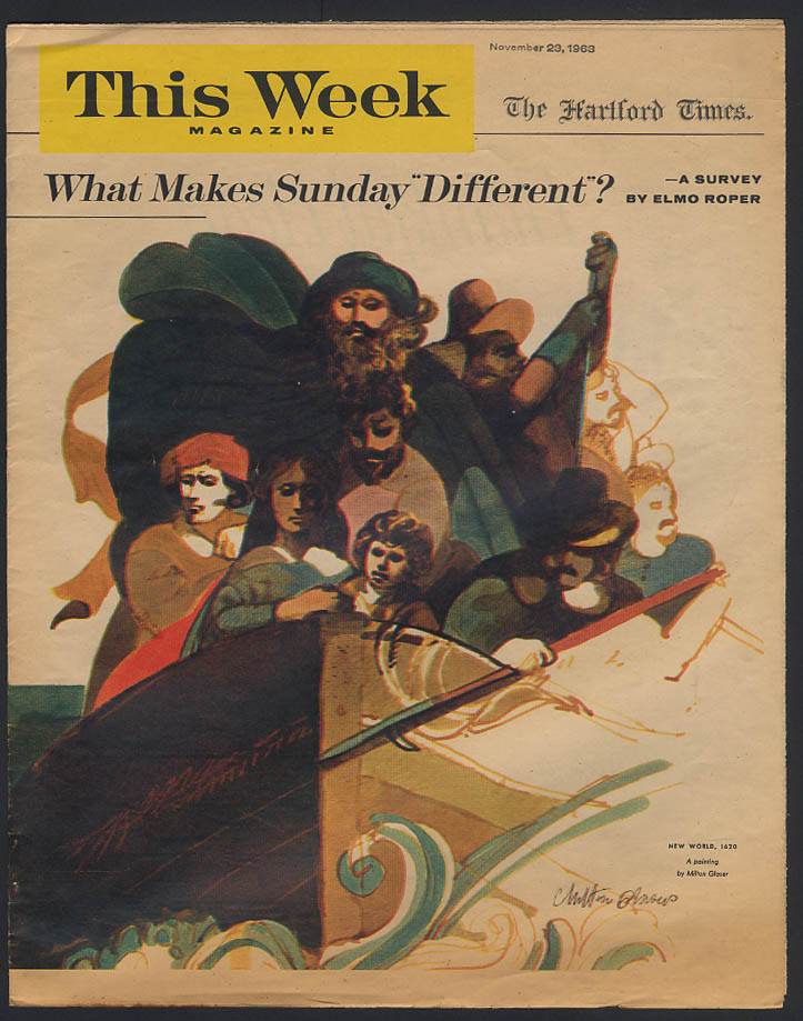 THIS WEEK 12/23 1963 Roper Poll: Why Sunday different? Glaser cover Plymouth MA