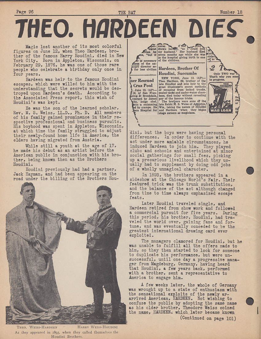 Magic Limited THE BAT 6 1945 Houdini's Brother Hardeen dies +
