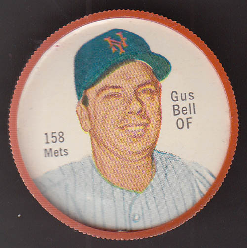 Image for New York Mets OF Gus Bell Salada Tea Junket coin #158 1962