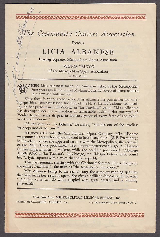 SIGNED Licia Albanese Community Concert Assn Opera Recital Program 1940s