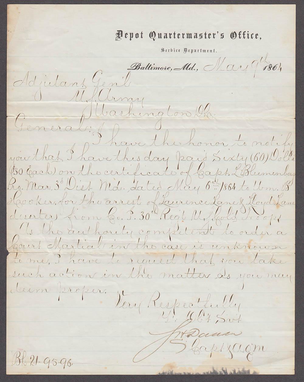 30th Regt Colored Troops Laurence & Lloyd Lane deserters bounty document 1864
