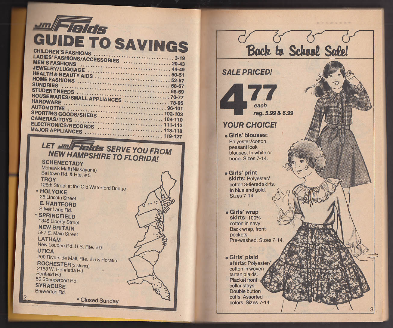 J M Fields Back-to-School Sale catalog 1978s toys sports clothes bicycles guns +