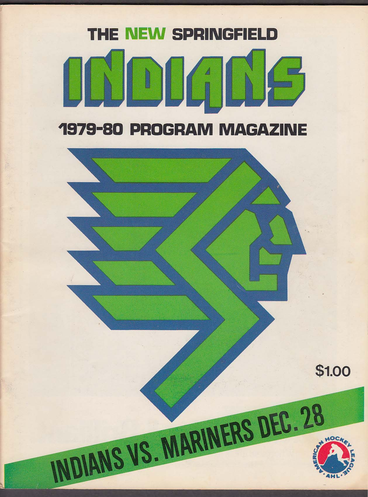 New Springfield Indians vs Mariners 12/28 1979 program unscored