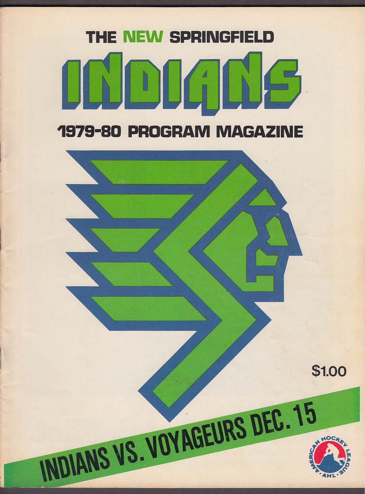 New Springfield Indians vs Voyagers 12/15 1979 program magazine unscored