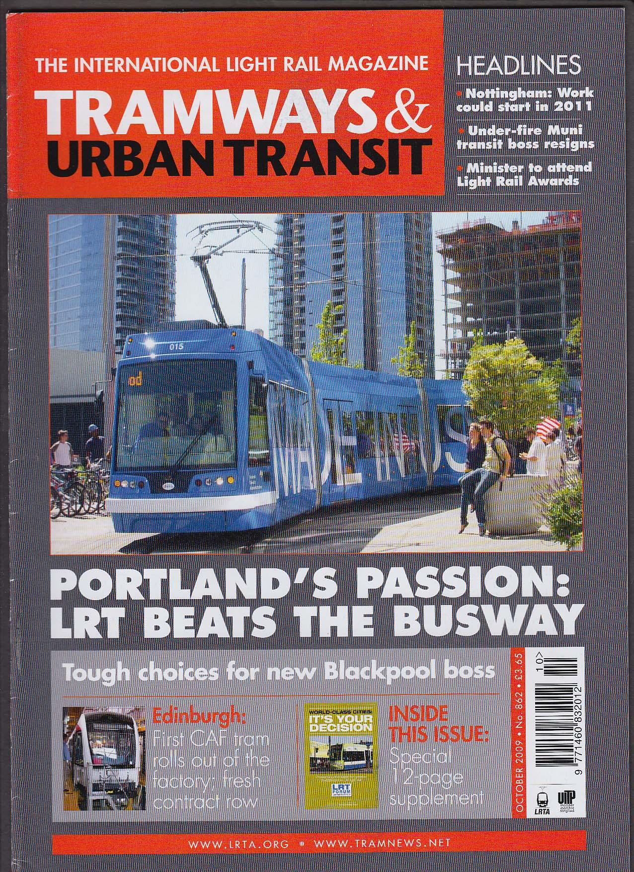 TRAMWAYS & URBAN TRANSIT Portland LRT v Busway Muni Transit Light Rail + 10 2009
