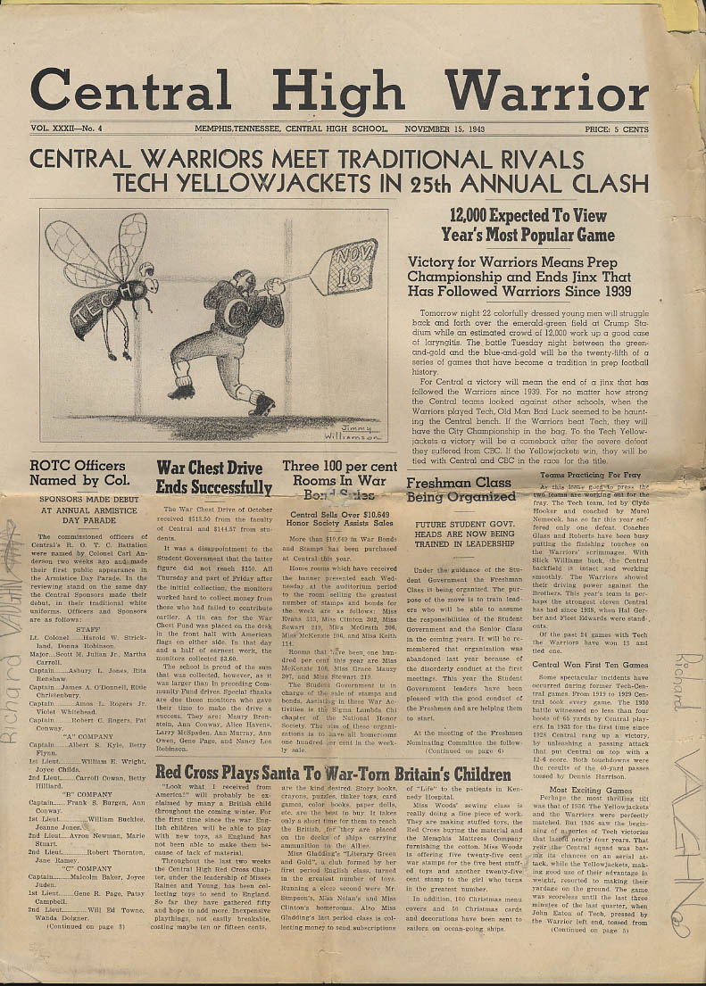Central High WARRIOR school newspaper 11/15 1943 Memphis TN football issue