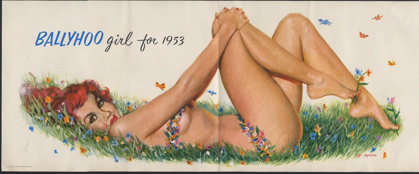 Ballyhoo Girl for 1953 Al Moore poster print redhead in bikini of flowers