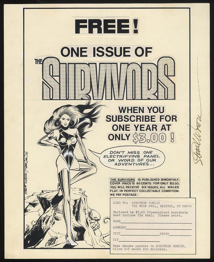 SIGNED Steve Woron Free Issue of THE SURVIVORS Spectrum Comics paste-up