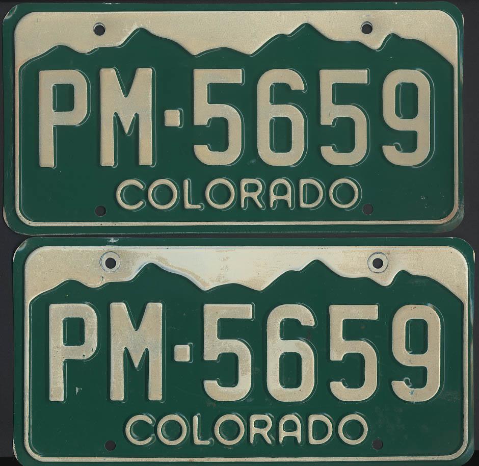 Colorado license plate pair 1995 base no tags PM-5659