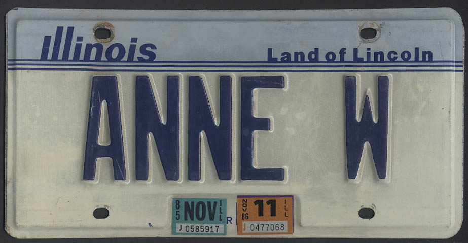 Image for Illinois license plate single Land of Lincoln ANNE W 1983 base 1985 & 1986 tags
