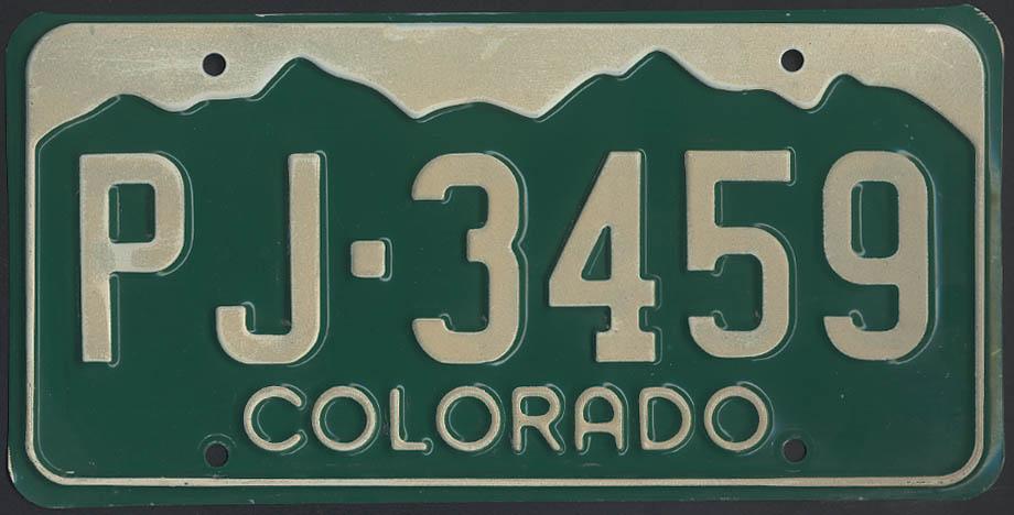 Colorado license plate single 1995 base no tag PJ-3459