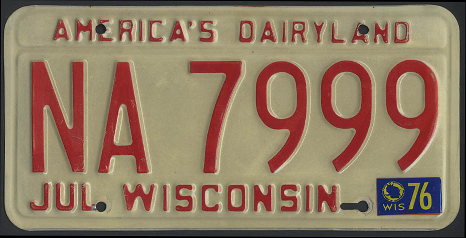 Wisconsin license plate America's Dairyland 1973-1979 base 1976 tag NA 7999