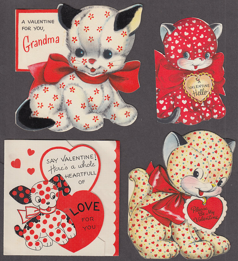 Nine different Valentine cards stuffed animals theme 1950s