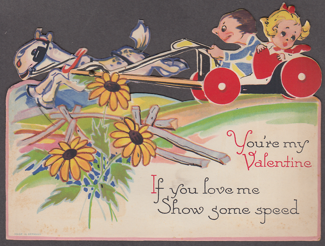 A Real Charmer mechanical Valentine card horse & buggy ca 1920s