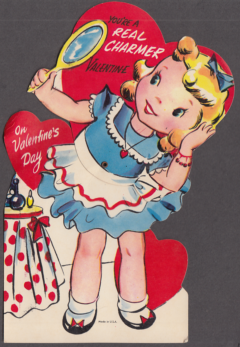 A Real Charmer Valentine card blonde girl with mirror 1950s