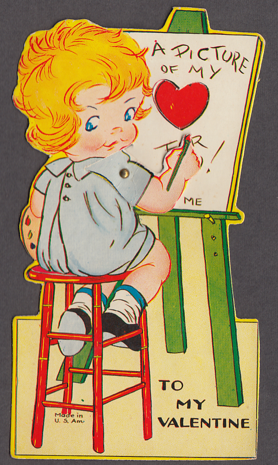 Picture of my love mechanical Valentine card 1930s heart revealed on canvas