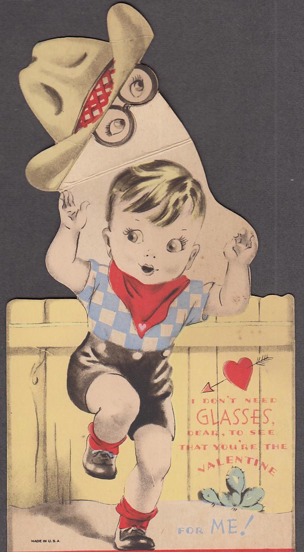 I don't need glasses mechanical Valentine card 1940s cowboy kid