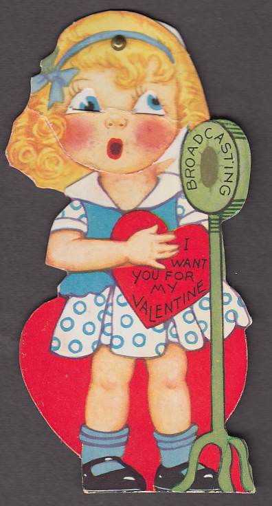 I want you for my Valentine mechanical card 1930s blonde girl microphone
