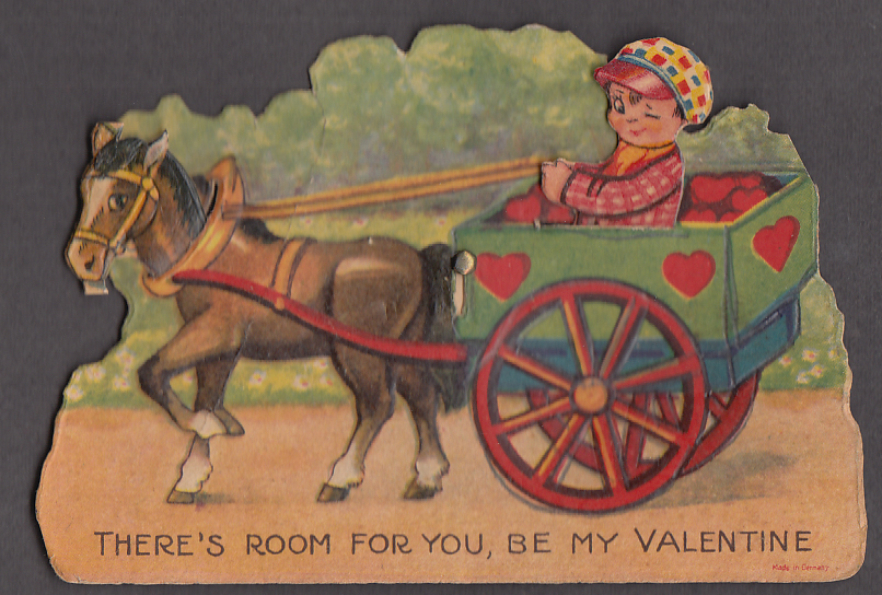 Room for you mechanical Valentine card 1920s one-horse cart