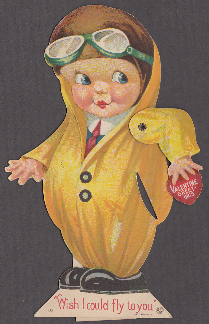 Wish I could fly to you mechanical Valentine card 1930s boy aviator