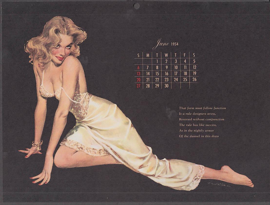 Ernest Chiriaka Esquire pin-up calendar page 6 1954 blonde white slip