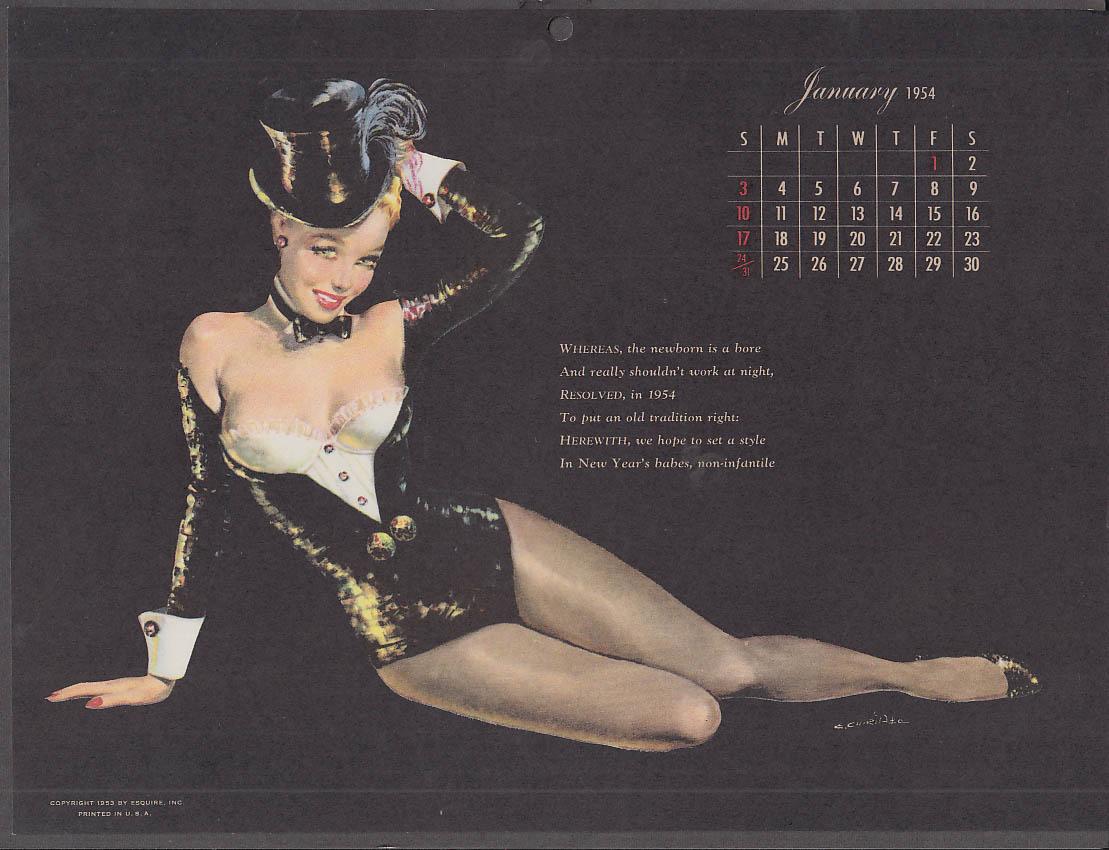 Ernest Chiriaka Esquire pin-up calendar page 1 1954 black bustier & top hat
