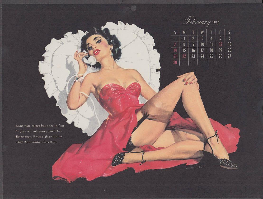 Ernest Chiriaka Esquire pin-up calendar page 2 1954 stockings & garter belt