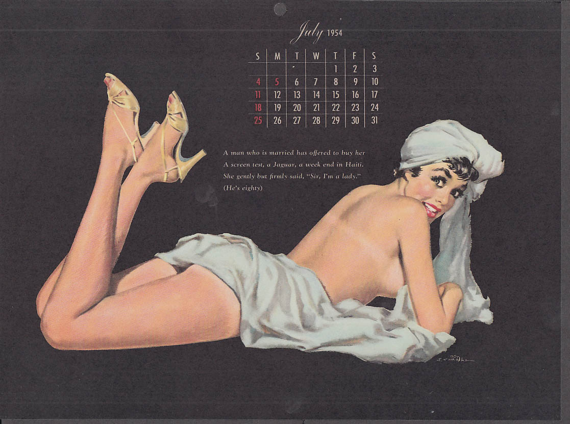 Ernest Chiriaka Esquire pin-up calendar page 7 1954 nude with blue towels