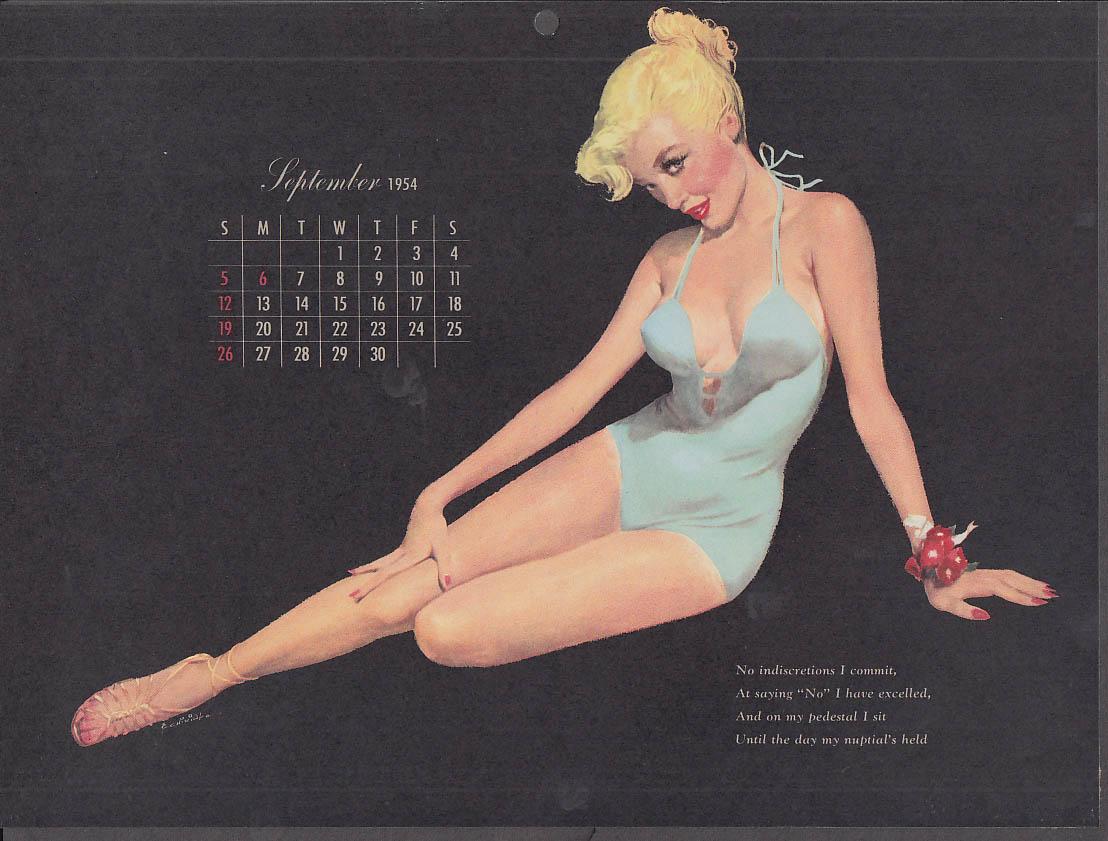 Ernest Chiriaka Esquire pin-up calendar page 9 1954 blonde blue swimsuit
