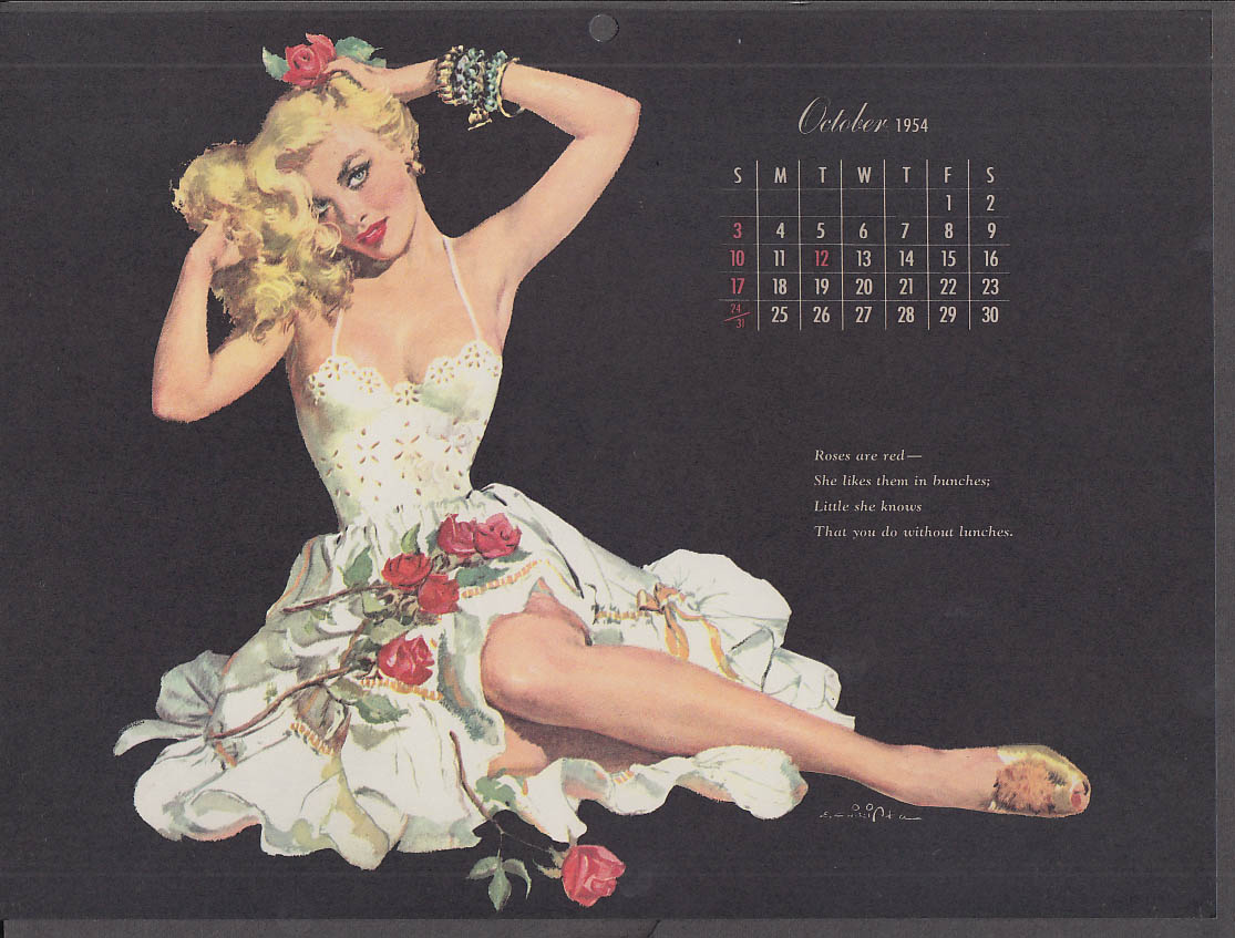 Ernest Chiriaka Esquire pin-up calendar page 10 1954 blonde showing leg