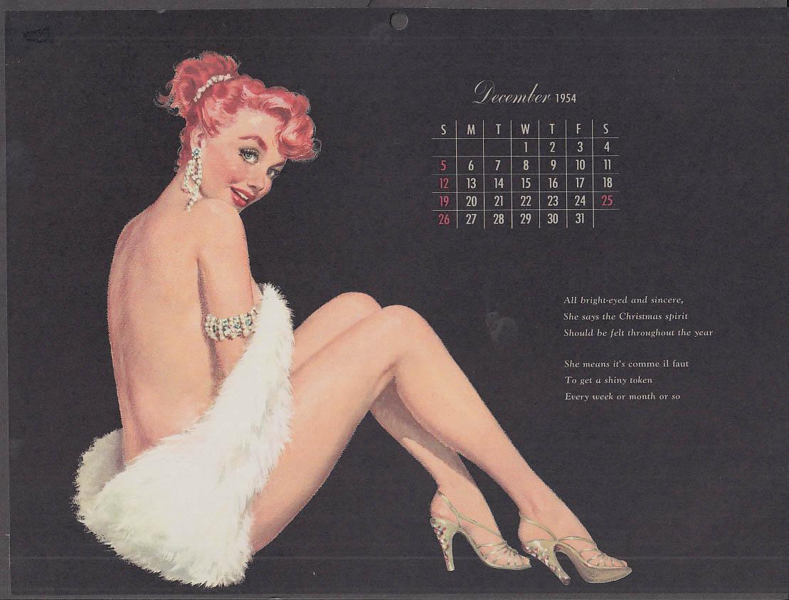 Ernest Chiriaka Esquire pin-up calendar page 12 1954 redhead white fur stole