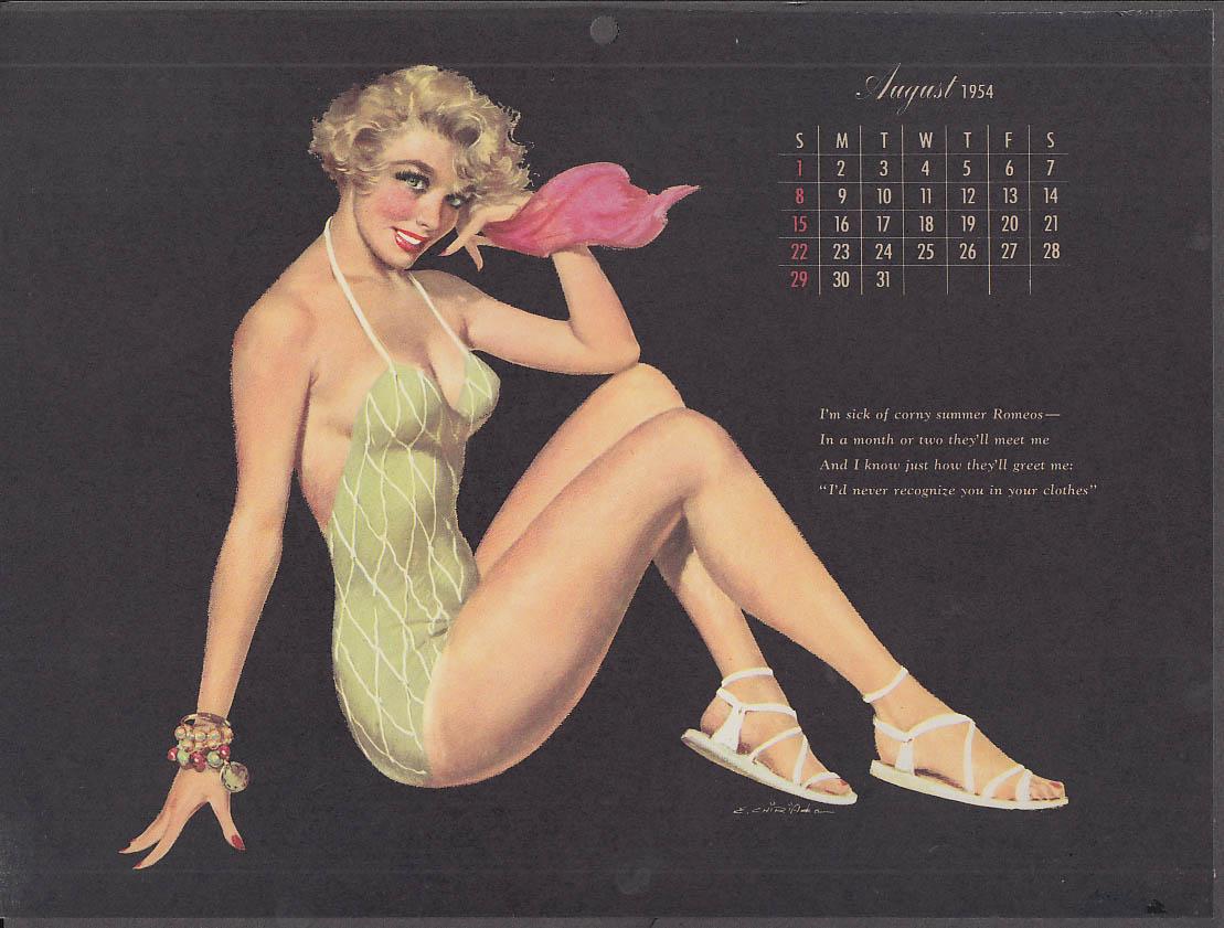 Ernest Chiriaka Esquire pin-up calendar page 8 1954 blonde green swimsuit