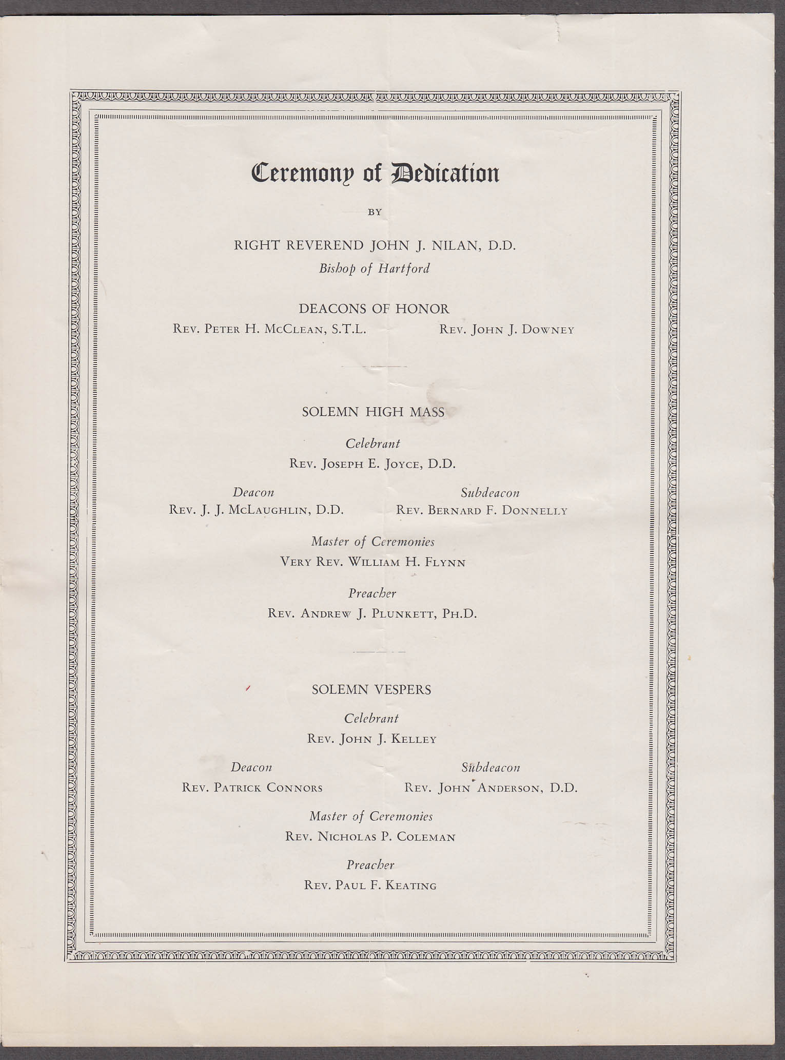 St Mary's Church Solemn Dedication Program Stamford CT 6/17 1928