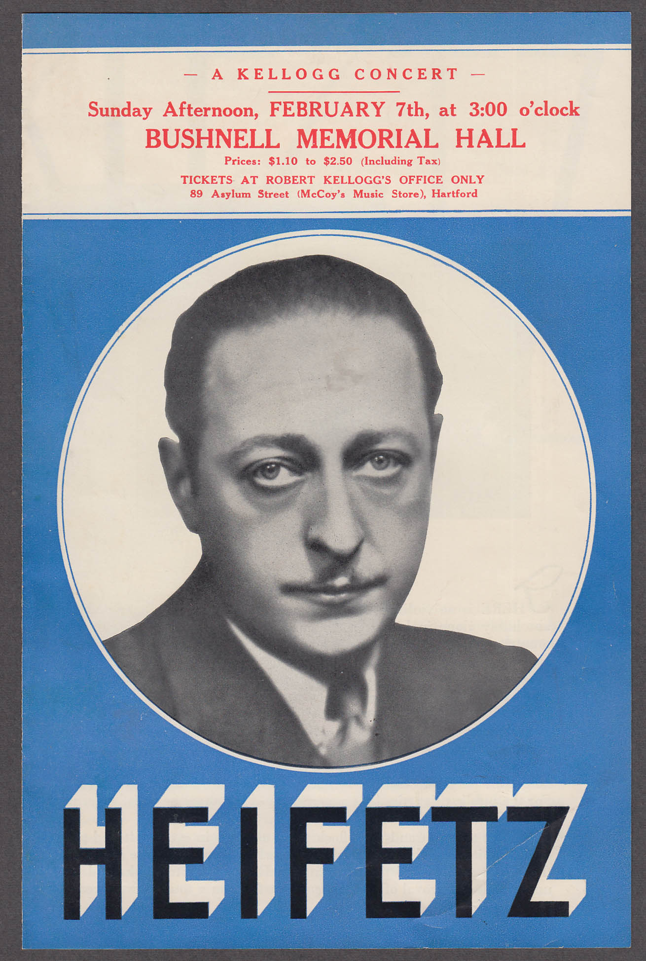 Jascha Heifetz promo flyer Bushnell Memorial Hartford CT 1937
