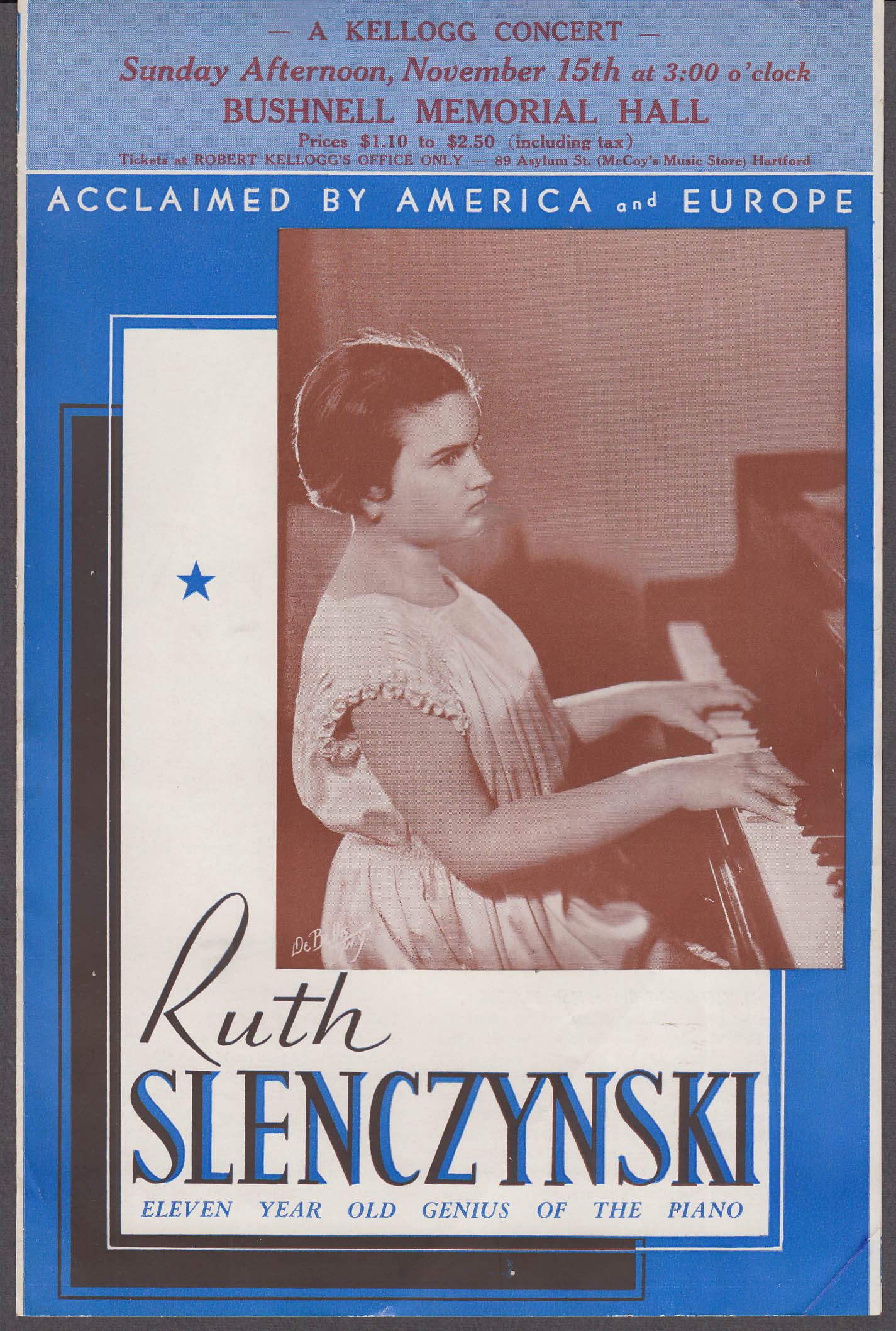 Pianist Ruth Slenczynski promo flyer Bushnell Memorial Hartford CT 1936