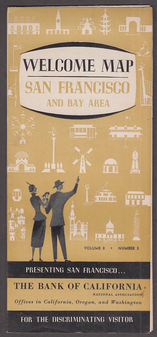Bank of California Welcome Map San Francisco & Bay Area 1955