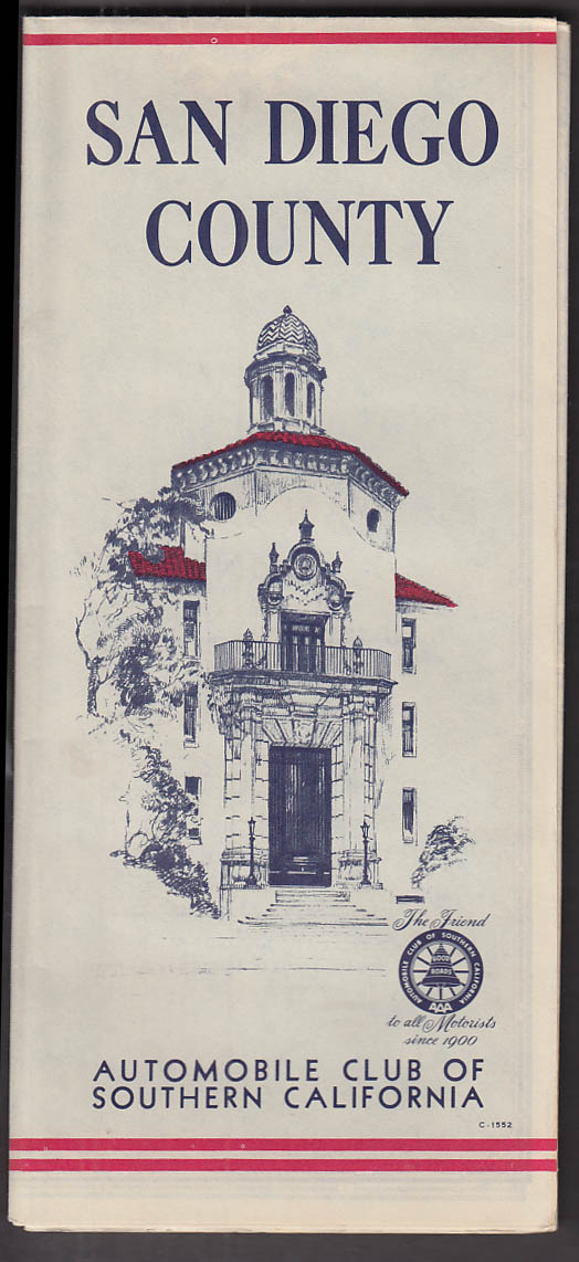 Automobile Club Southern California San Diego County Road Map 1955
