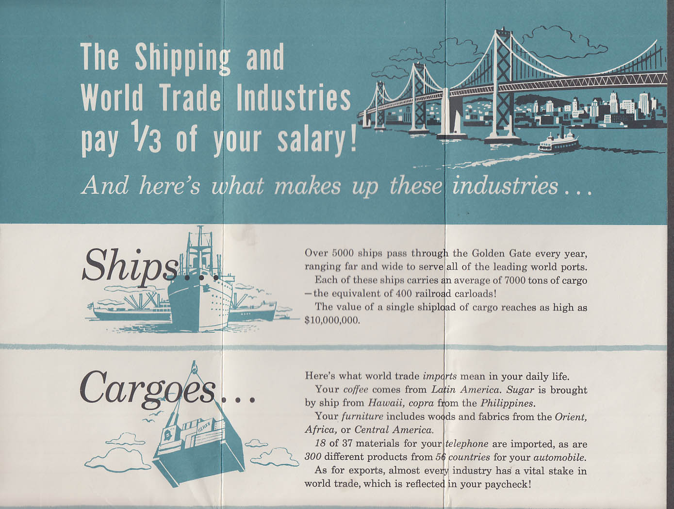 Golden Gate Trade & Maritime Festival folder Ships World Trade & You 1956