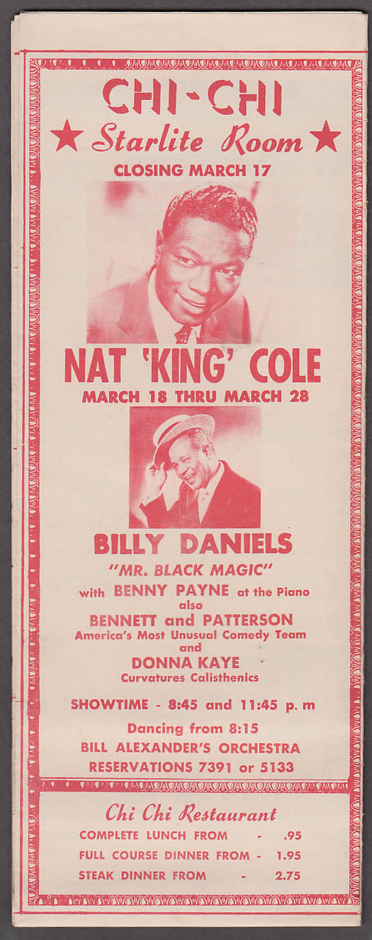 This Week in Palm Springs CA 3/16 1957 folder & map Nat King Cole Billy Daniels