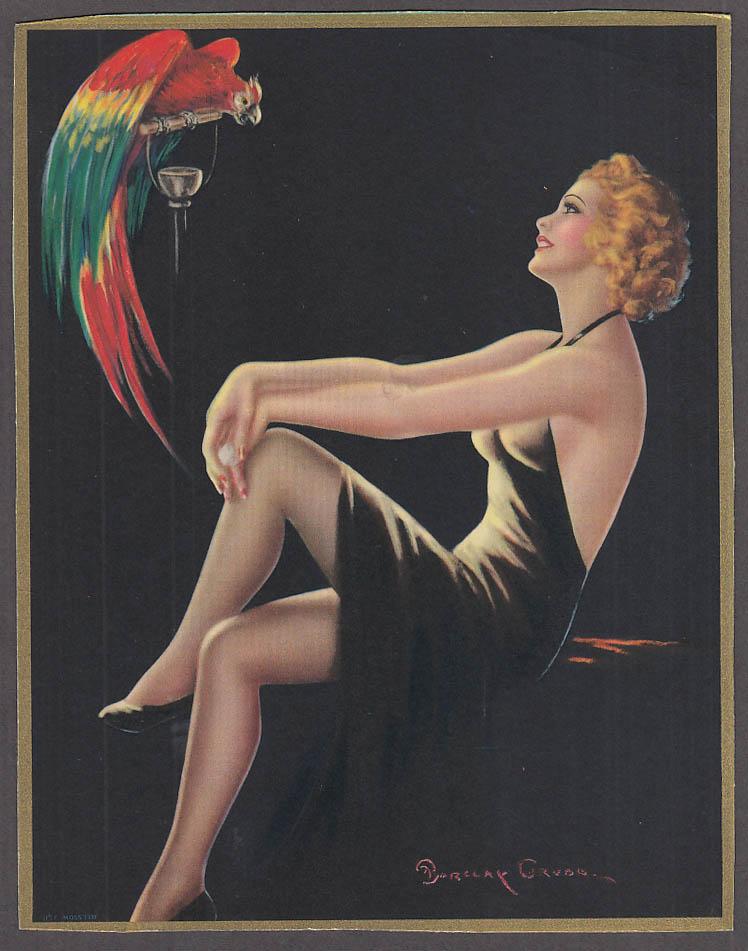 Barclay Grubb pin-up calendar topper redhead black dress parrot ca 1940s