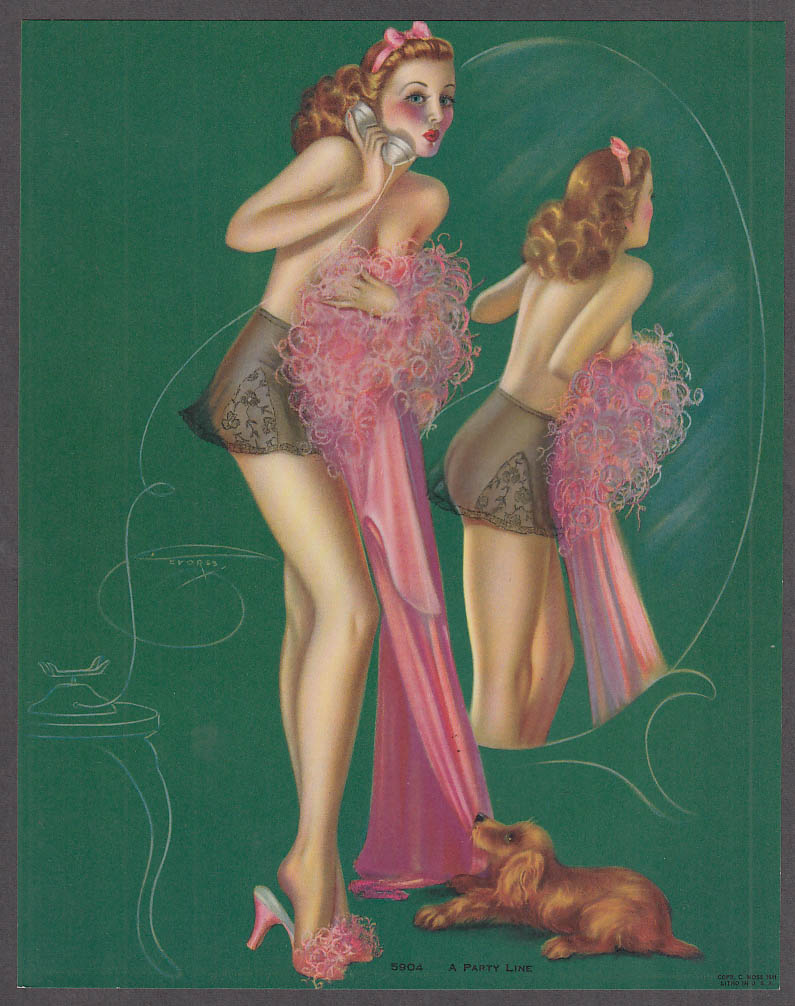 Billy De Vorss pin-up print A Party Line #5904 1940s puppy tugs at pink gown