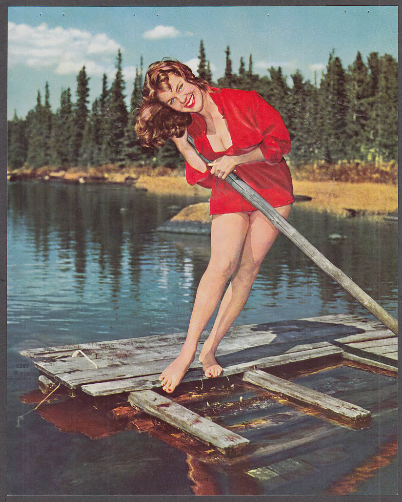 Adrift embossed pin-up print red blouse cleavage & gams on a river raft 1950s