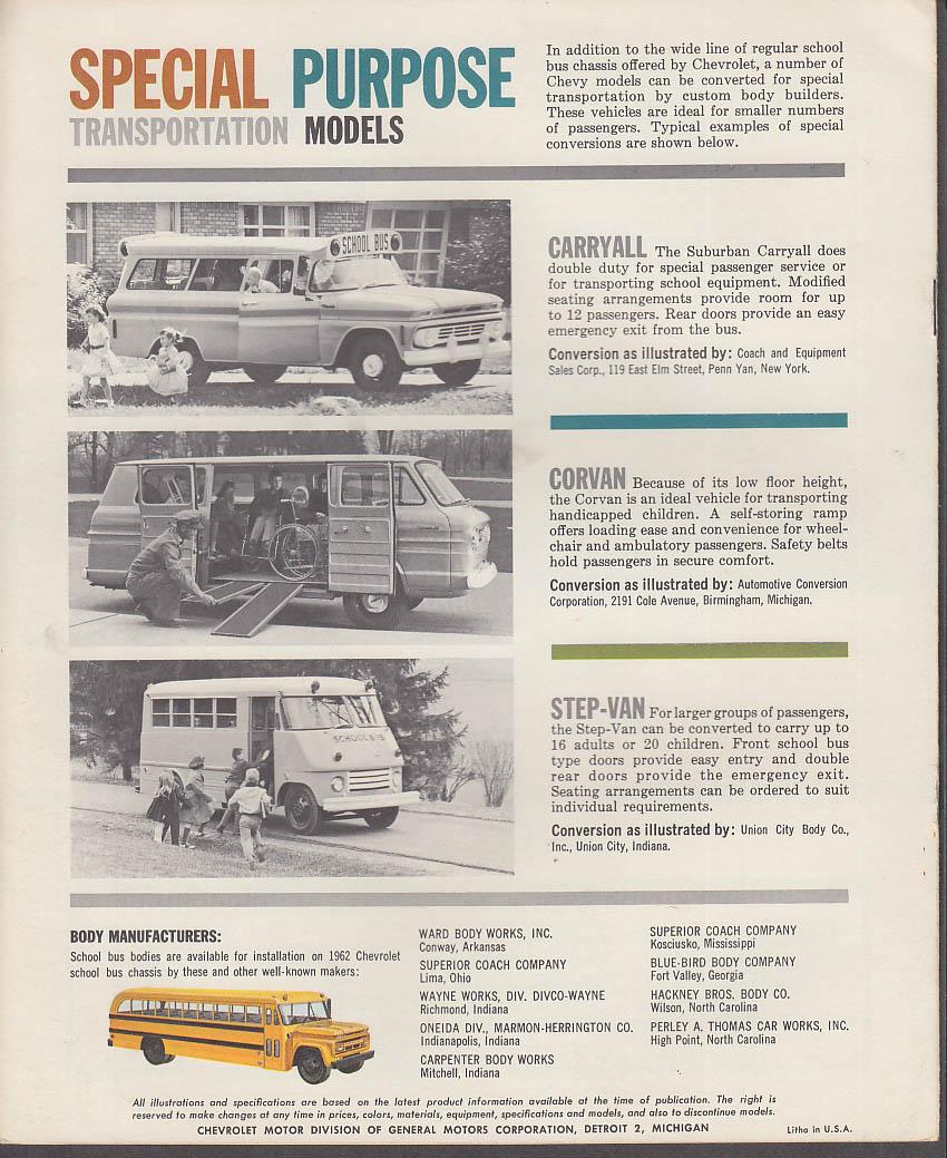 1962 Chevrolet School Bus Transportation catalog Corvan Step