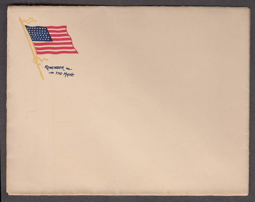 Remember the Maine Flag Cachet unused envelope 1898 Spanish-American War