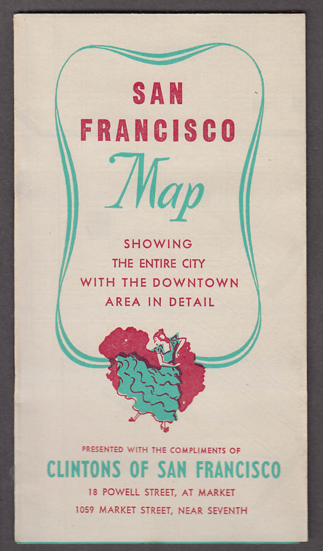 Clintons Cafeterias San Francisco City Street Map 1940