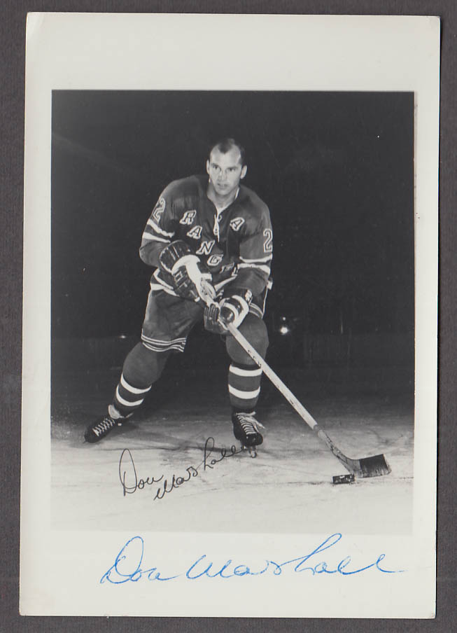 New York Rangers Don Marshall SIGNED photograph 1960s