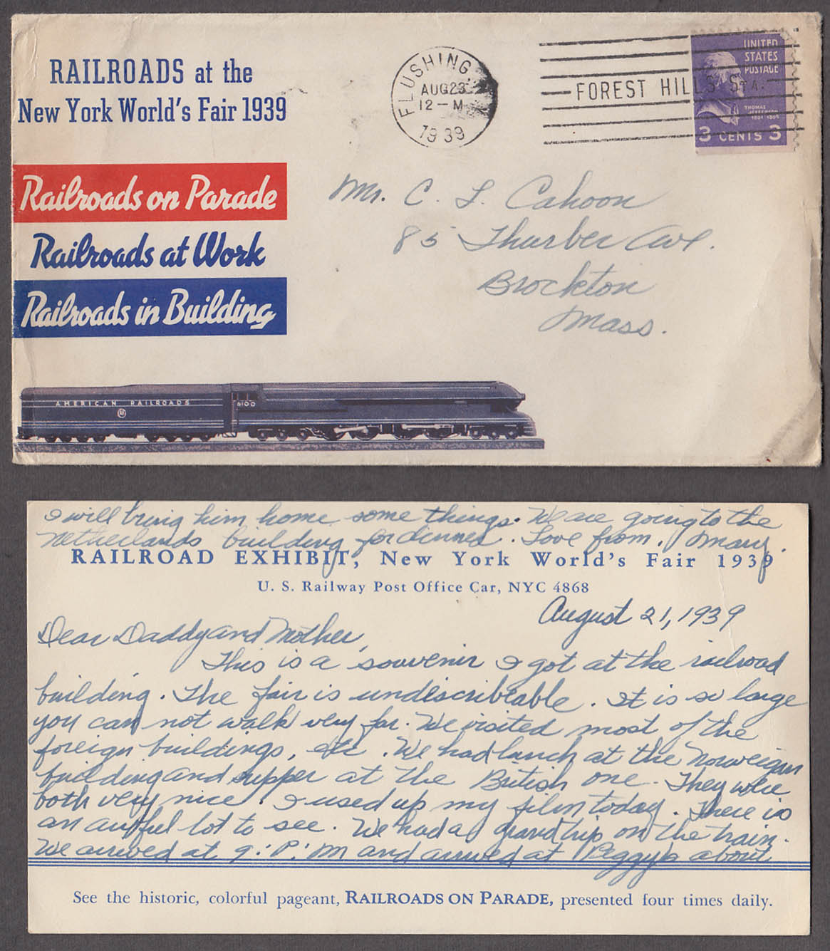 Image for New York World's Fair Railroad Exhibit postal cover with written card 1939
