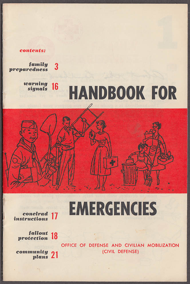 Civil Defense Handbook for Emergencies 1958 nuclear attack flood tornado 1st aid