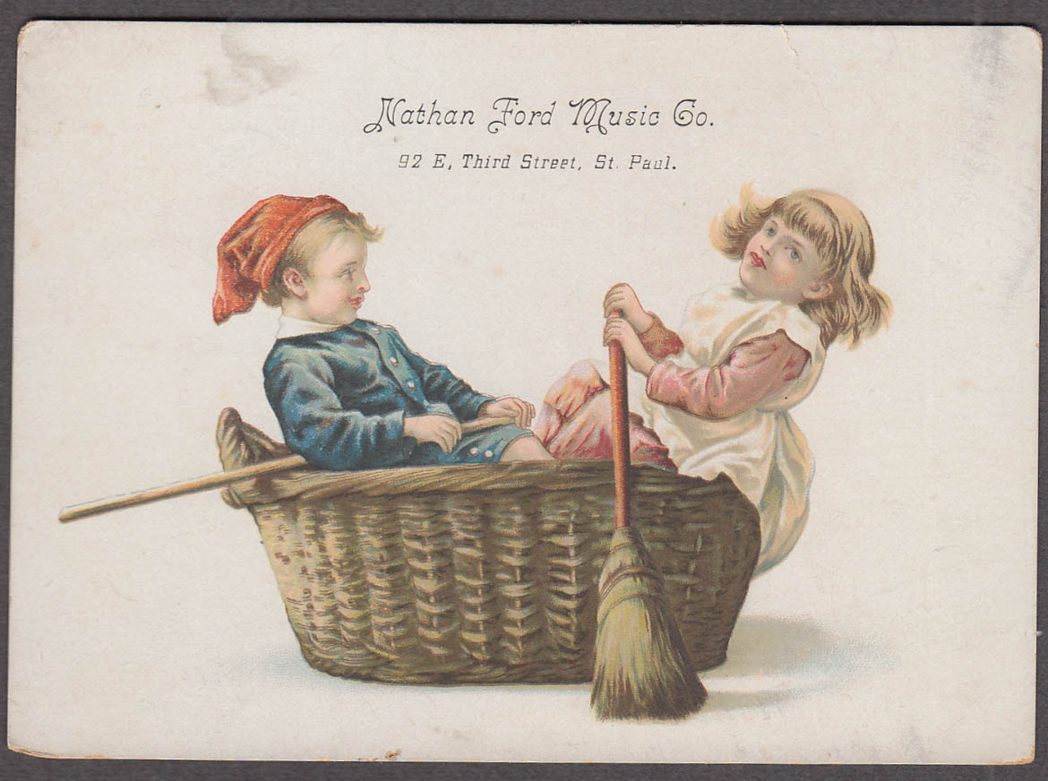 Nathan Ford Music Co St Paul MN trade card 1880s boy & girl row laundry basket