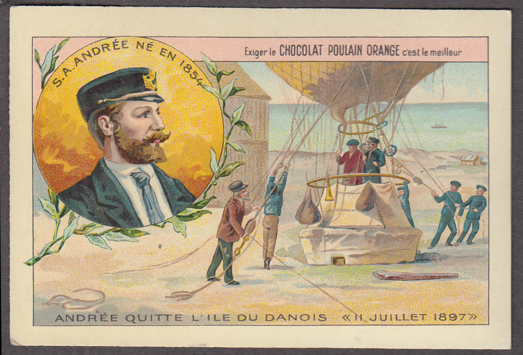 Balloonist S A Andree Chocolat Poulain Orange trade card 1890s